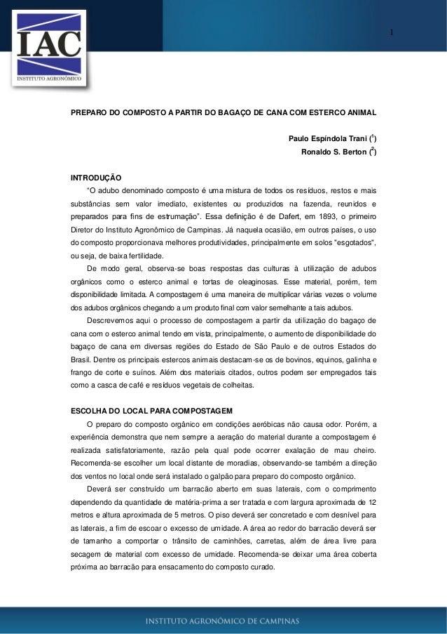 1 PREPARO DO COMPOSTO A PARTIR DO BAGAÇO DE CANA COM ESTERCO ANIMAL Paulo Espíndola Trani ( 1 ) Ronaldo S. Berton ( 2 ) IN...