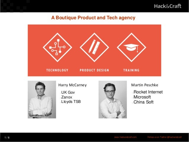 cv A Boutique Product and Tech agency 1 / 6 www.hackandcraft.com Follow us on Twitter @hackandcraft Harry McCarney Martin ...