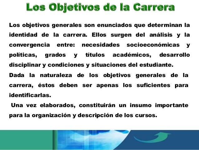 • Objetivos generales curriculares • Objetivos generales • Objetivos particulares, y  • Objetivos específicos. Su utilizac...