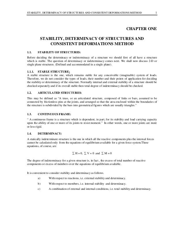 STABILITY, DETERMINACY OF STRUCTURES AND CONSISTENT DEFORMATIONS METHOD  1  CHAPTER ONE STABILITY, DETERMINACY OF STRUCTUR...