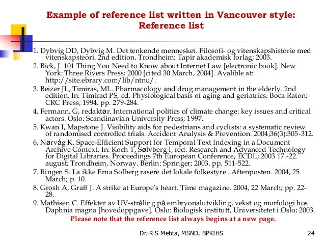 vancouver methods of writing reference