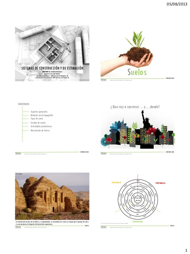 05/08/2013  SISTEMAS DE CONSTRUCCIÓN Y DE ESTIMACIÓN PROFESOR: Dr. Carolina Stevenson Arquitecta Universidad Nacional Doct...