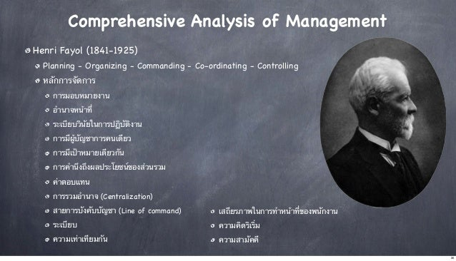 Comprehensive Analysis of Management Henri Fayol (1841-1925) Planning - Organizing - Commanding - Co-ordinating - Controll...