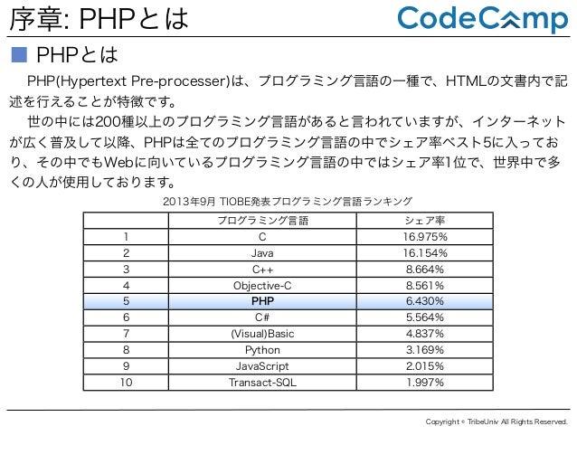 序章: PHPとは ■ PHPとは PHP(Hypertext Pre-processer)は、プログラミング言語の一種で、HTMLの文書内で記 述を行えることが特徴です。 世の中には200種以上のプログラミング言語があると言われていますが、イ...