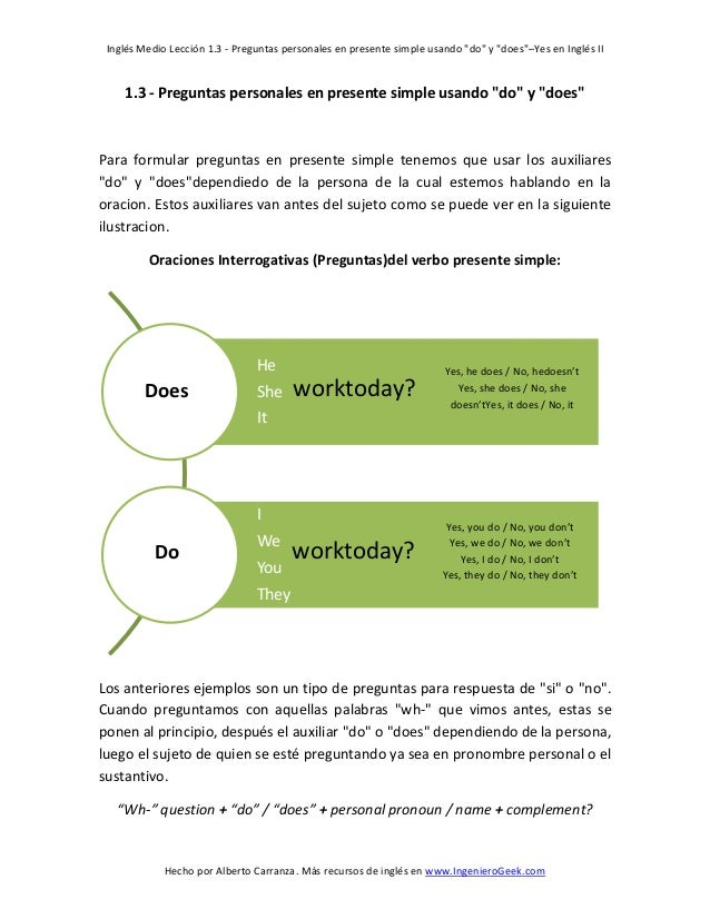 """Inglés Medio Lección 1.3 - Preguntas personales en presente simple usando """"do"""" y """"does""""–Yes en Inglés II  1.3 - Preguntas ..."""