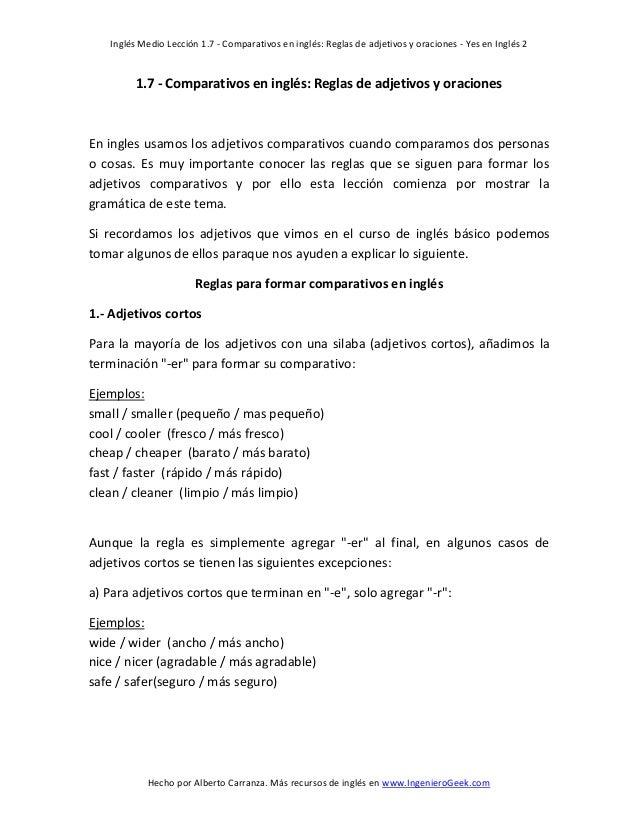 Inglés Medio Lección 1.7 - Comparativos en inglés: Reglas de adjetivos y oraciones - Yes en Inglés 2  1.7 - Comparativos e...