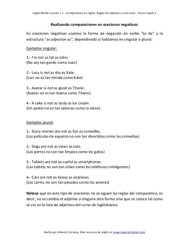 17 Comparativos En Inglés Reglas De Adjetivos Y Oraciones