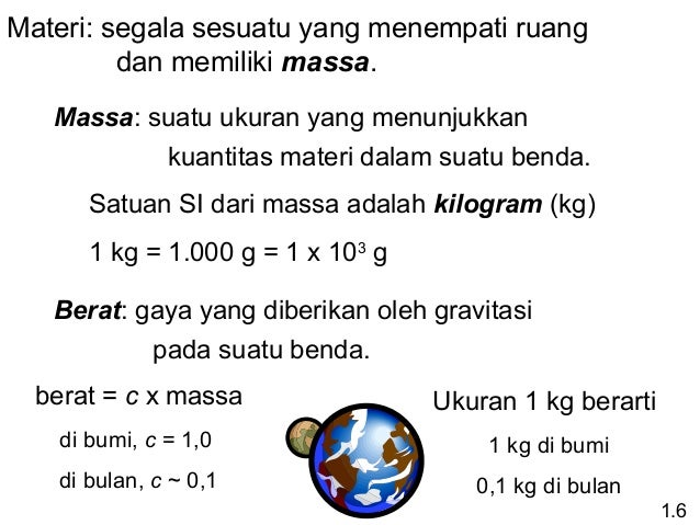 Materi: segala sesuatu yang menempati ruang dan memiliki massa. Massa: suatu ukuran yang menunjukkan kuantitas materi dala...