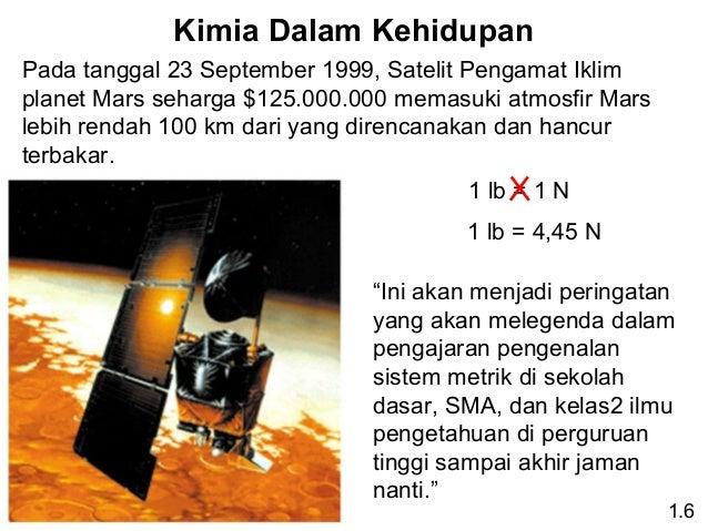 Kimia Dalam Kehidupan Pada tanggal 23 September 1999, Satelit Pengamat Iklim planet Mars seharga $125.000.000 memasuki atm...