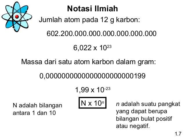 Notasi Ilmiah Jumlah atom pada 12 g karbon: 602.200.000.000.000.000.000.000 6,022 x 1023 Massa dari satu atom karbon dalam...