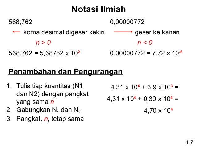 Notasi Ilmiah 568,762  0,00000772  koma desimal digeser kekiri  geser ke kanan  n>0  n<0  568,762 = 5,68762 x 102  0,00000...