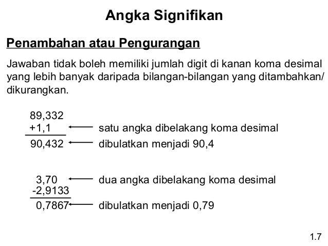 Angka Signifikan Penambahan atau Pengurangan Jawaban tidak boleh memiliki jumlah digit di kanan koma desimal yang lebih ba...