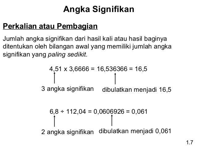 Angka Signifikan Perkalian atau Pembagian Jumlah angka signifikan dari hasil kali atau hasil baginya ditentukan oleh bilan...