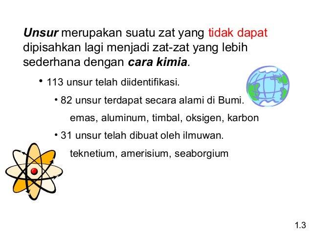 Unsur merupakansuatuzatyangtidakdapat dipisahkanlagimenjadizat-zatyanglebih sederhanadengancara kimia. •113...