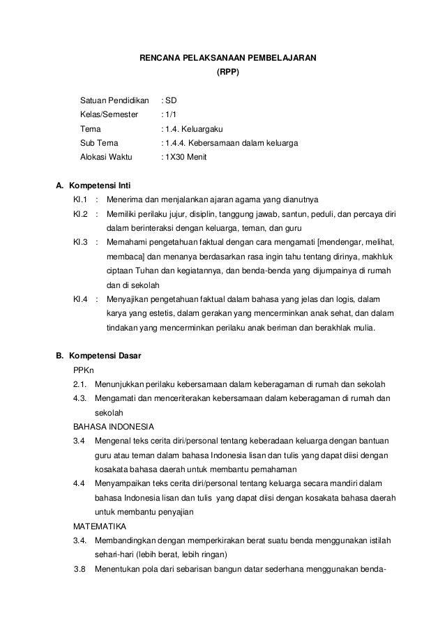 Rpp Kelas 1 Kurikulum 2013 Tema Keluargaku Sub Tema Kebersamaa