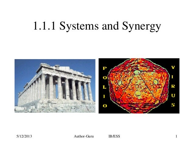 1.1.1 Systems and Synergy  5/12/2013  Author-Guru  IB/ESS  1