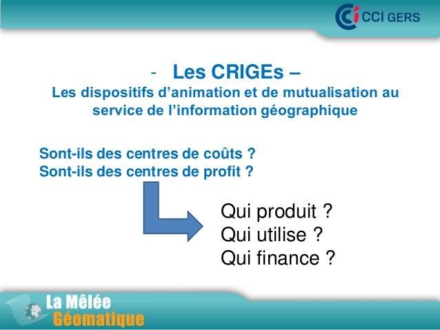 - Les CRIGEs – Les dispositifs d'animation •La Mêlée Géomatique et de mutualisation au service de l'information géographiq...