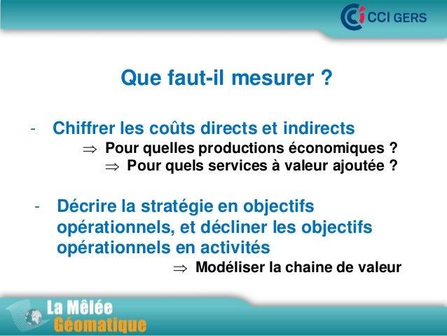 Que faut-il mesurer ? •La Mêlée Géomatique - Chiffrer les coûts directs et indirects   Pour quelles productions économiqu...