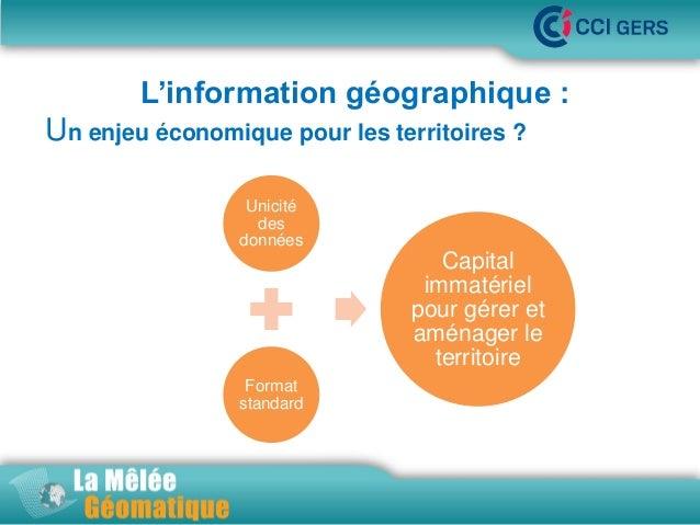 L'information géographique : Un enjeu économique pour les territoires ?  •La Mêlée Géomatique  Unicité des données  Capita...