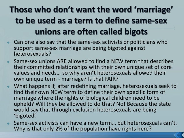 same sex marriage weakens definition of marriage in Welland