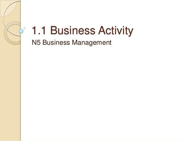 1.1 Business Activity N5 Business Management
