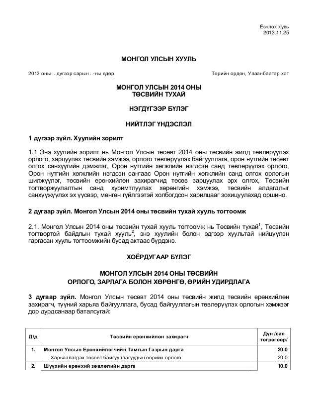 Ёсчлох хувь 2013.11.25  МОНГОЛ УЛСЫН ХУУЛЬ 2013 оны .. дүгээр сарын ..-ны өдөр  Төрийн ордон, Улаанбаатар хот  МОНГОЛ УЛСЫ...