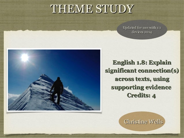 THEME STUDY Updated for use with 1:1 devices 2014  English 1.8: Explain significant connection(s) across texts, using supp...