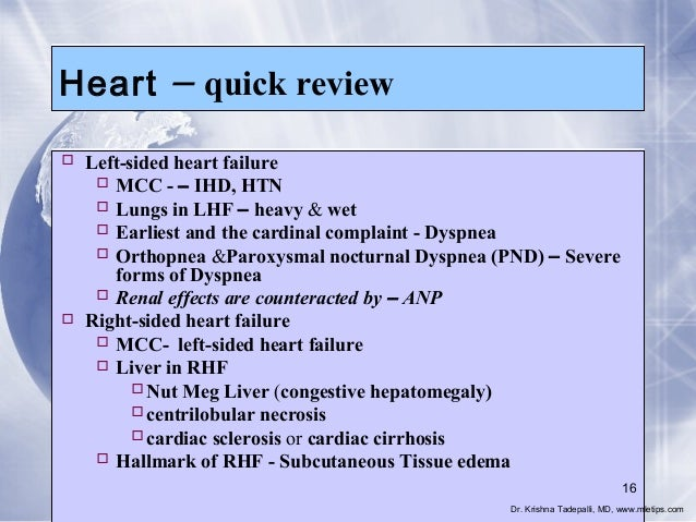 Heart  – quick review   Left-sided heart failure  MCC - – IHD, HTN  Lungs in LHF – heavy & wet  Earliest and the cardi...