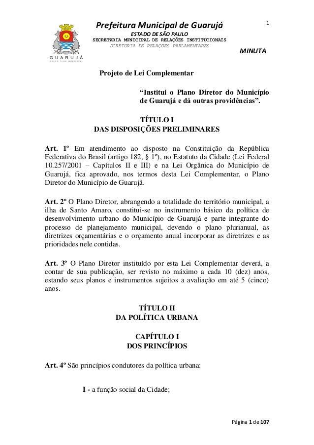 1  Prefeitura Municipal de Guarujá ESTADO DE SÃO PAULO SECRETARIA MUNICIPAL DE RELAÇÕES INSTITUCIONAIS DIRETORIA DE RELAÇÕ...