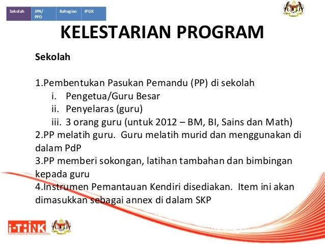 Sekolah  JPN/ PPD  Bahagian  IPGK  KELESTARIAN PROGRAM  Sekolah 1.Pembentukan Pasukan Pemandu (PP) di sekolah i. Pengetua/...