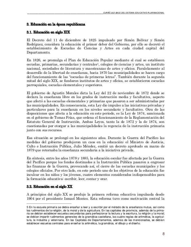 Curriculo Base - Sistema Educativo Plurinacional de Bolivia