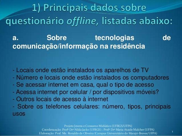 a. Sobre tecnologias comunicação/informação na residência  de  - Locais onde estão instalados os aparelhos de TV - Número ...