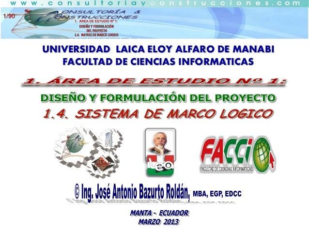 1/90  UNIVERSIDAD LAICA ELOY ALFARO DE MANABI FACULTAD DE CIENCIAS INFORMATICAS