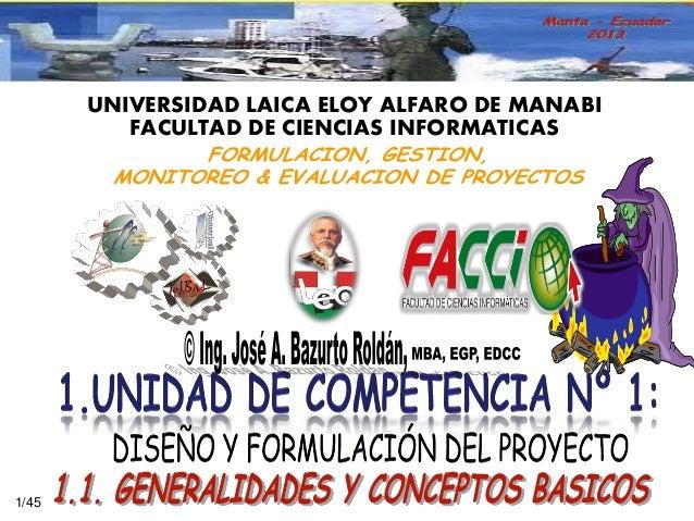 UNIVERSIDAD LAICA ELOY ALFARO DE MANABI FACULTAD DE CIENCIAS INFORMATICAS  1/45