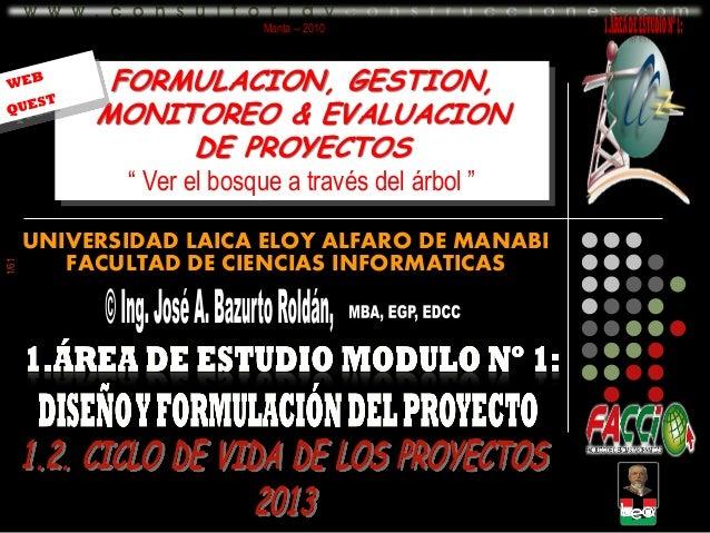 """Manta -- 2010  FORMULACION, GESTION, MONITOREO & EVALUACION DE PROYECTOS  1/61  """" Ver el bosque a través del árbol """" UNIVE..."""