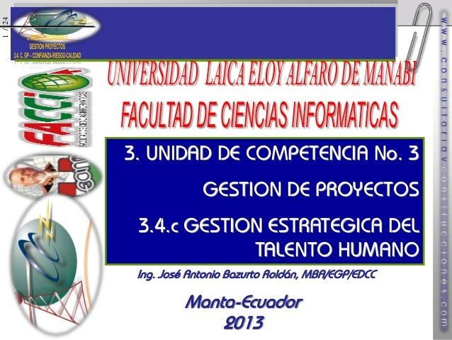 1 / 24  3. UNIDAD DE COMPETENCIA No. 3 GESTION DE PROYECTOS  3.4.c GESTION ESTRATEGICA DEL TALENTO HUMANO Ing. José Antoni...