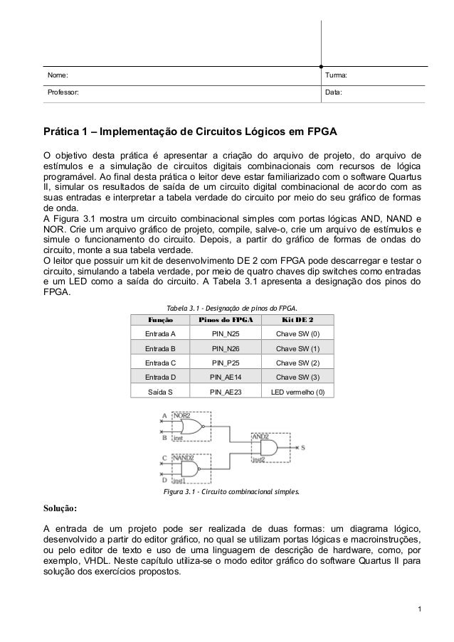 Nome:  Turma:  Professor:  Data:  Prática 1 – Implementação de Circuitos Lógicos em FPGA O objetivo desta prática é aprese...