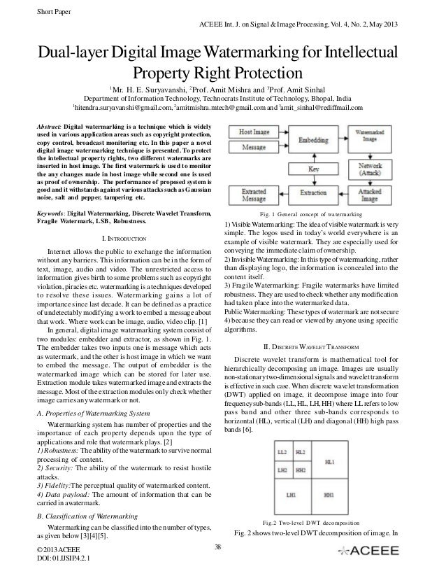 Short Paper ACEEE Int. J. on Signal & Image Processing, Vol. 4, No. 2, May 2013  Dual-layer Digital Image Watermarking for...