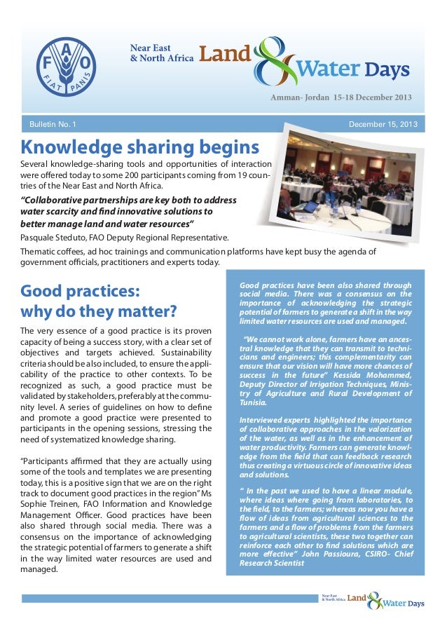 Bulletin No. 1  December 15, 2013  Knowledge sharing begins Several knowledge-sharing tools and opportunities of interacti...