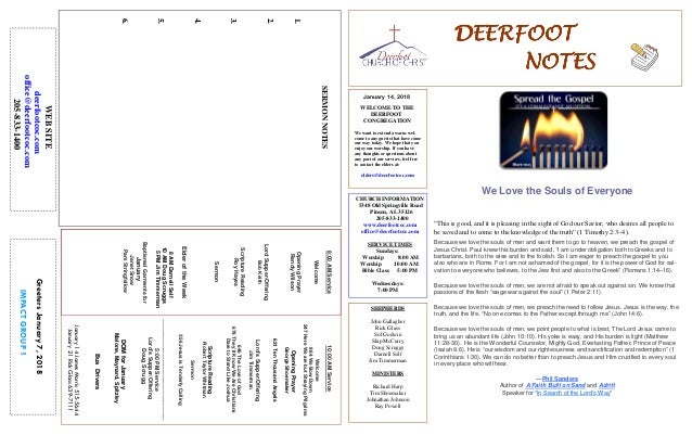 January 14, 2018 GreetersJanuary7,2018 IMPACTGROUP1 DEERFOOTDEERFOOTDEERFOOTDEERFOOT NOTESNOTESNOTESNOTES WELCOME TO THE D...