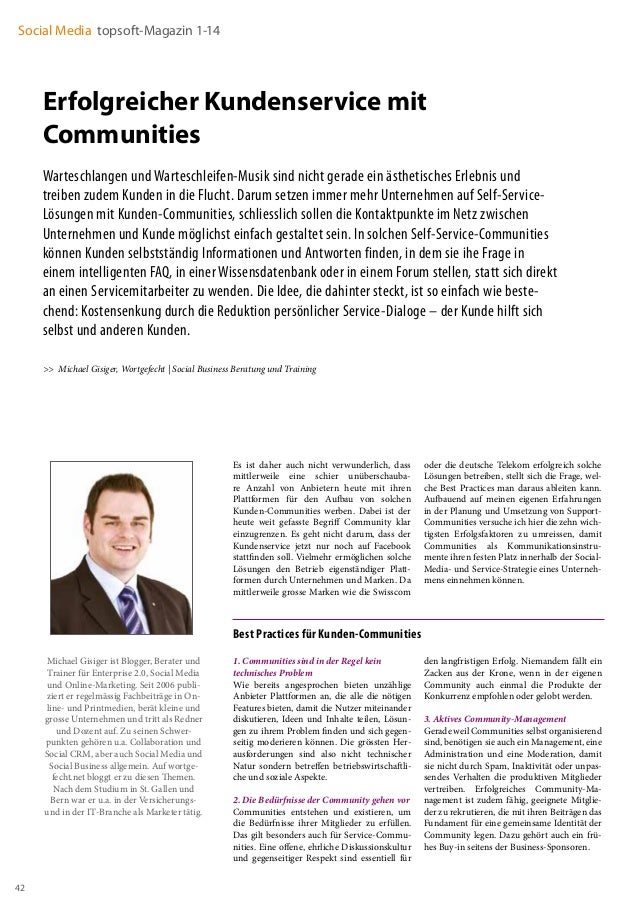 Social Media topsoft-Magazin 1-14  Erfolgreicher Kundenservice mit Communities Warteschlangen und Warteschleifen-Musik sin...