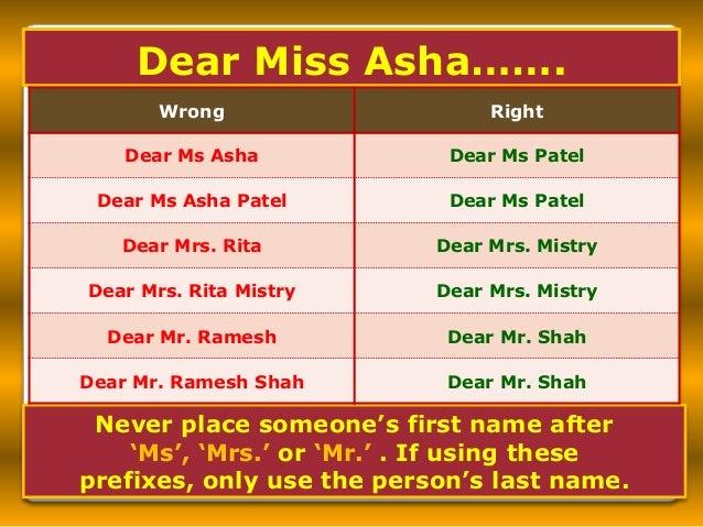 1. is it dear miss asha .......