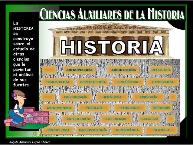 La  HISTORIA  se construye sobre el estudio de otras ciencias que le permiten el análisis de sus fuentes  ANTROPOLOGÍA ANT...