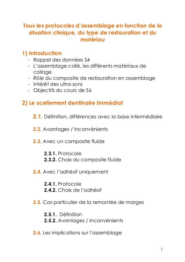 Tous les protocoles d'assemblage en fonction de la situation clinique, du type de restauration et du matériau 1) Introduct...