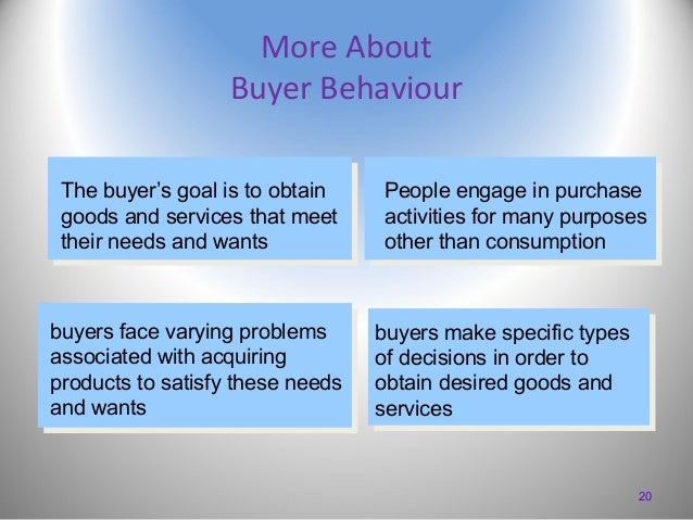 More About Buyer Behaviour The buyer's goal is to obtain goods and services that meet their needs and wants  buyers face v...
