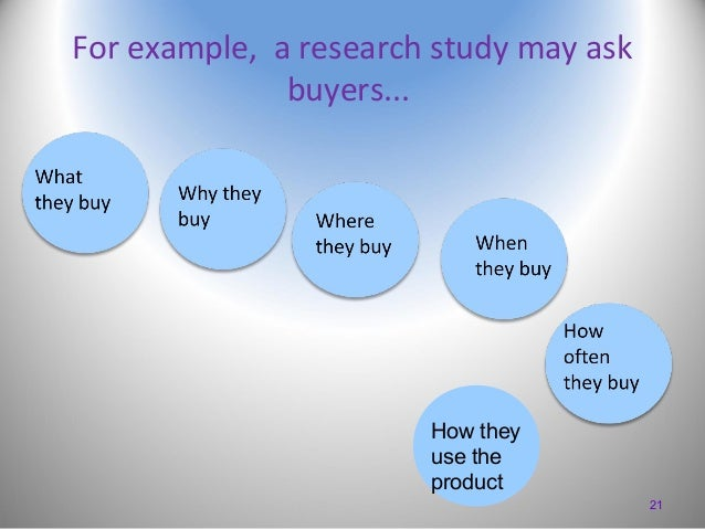 For example, a research study may ask buyers...  How they use the product 21
