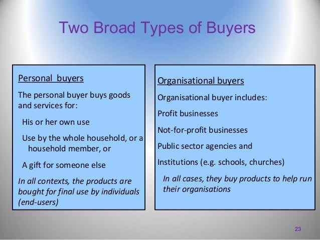Two Broad Types of Buyers Personal buyers  Organisational buyers  The personal buyer buys goods and services for:  Organis...