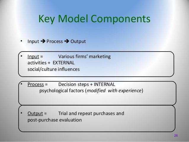 Key Model Components •  Input  Process  Output  •  Input = Various firms' marketing activities + EXTERNAL social/culture...