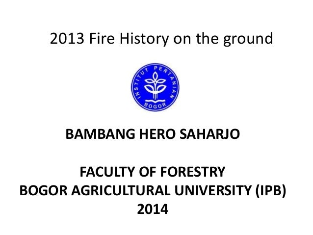 2013 Fire History on the ground  BAMBANG HERO SAHARJO FACULTY OF FORESTRY BOGOR AGRICULTURAL UNIVERSITY (IPB) 2014