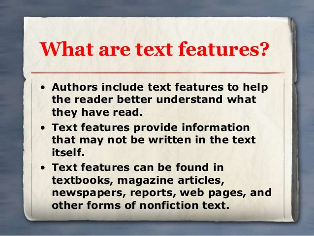 Text And Graphic Features For Nonfiction Text